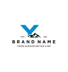 Letter y mountain logo design concept vector