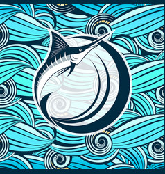 Marlin fish against background stylized vector