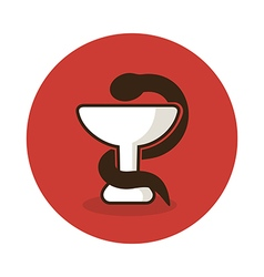 Medicine icon - snake on cup Medical vector image