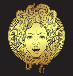 Medusa gorgon golden head on a shield print design vector