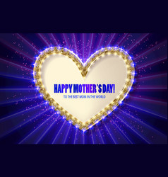 Mothers day golden heart greeting card vector
