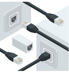 Network internet data connectors vector