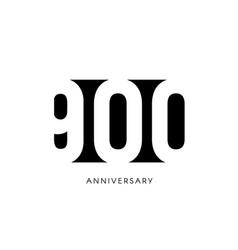 nine hundred anniversary minimalistic logo nine vector image