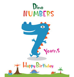 Number 7 in the form of a dinosaur vector