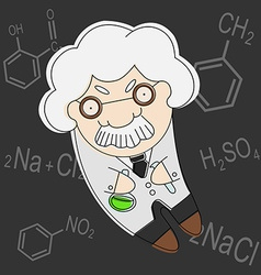 Old cartoon style professor vector image
