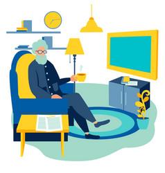 old man watching tv at home cartoon vector image