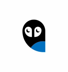 owl bird modern simple logo half moon eyes icon vector image