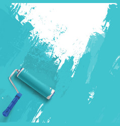 Painting wall blue background with roller vector