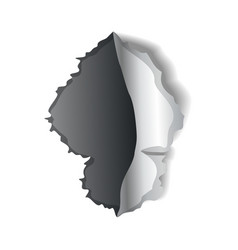 Paper hole realistic torn paper with vector