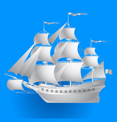 Paper sailing ship on blue background vector