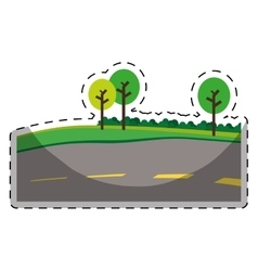 paved road with trees on the roadside icon image vector image