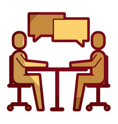 People business sitting speech bubble talking vector