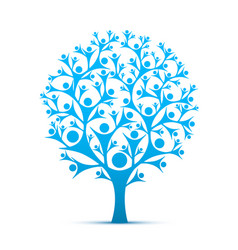 people tree sign color blue vector image