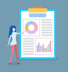 presentation businesswoman infographics board vector image