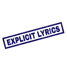 Rectangle scratched explicit lyrics stamp vector