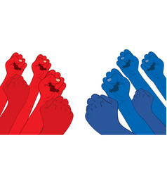 Red fist against blue one vector