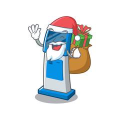 Santa with gift digital information cartoon kiosk vector