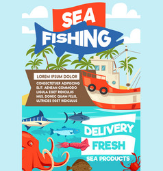 Sea fishing and seafood delivery vector