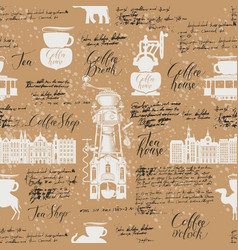 seamless background on tea and coffee theme vector image