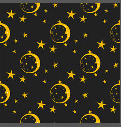 Seamless pattern background moon nature cosmos vector