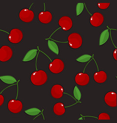 Seamless pattern cherry on gray background vector