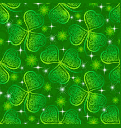 Seamless pattern green clover vector