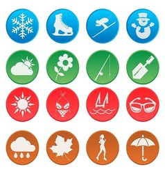 season weather and activity icon set 1 vector image