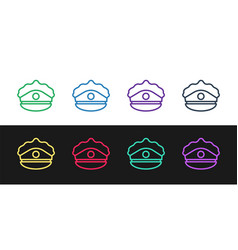 Set line police cap with cockade icon isolated on vector