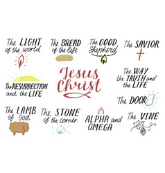 Set of 11 hand lettering christian quotes about vector
