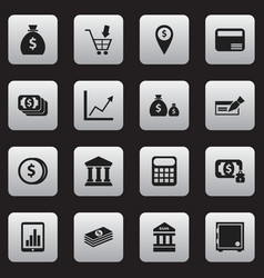 set of 16 editable banking icons includes symbols vector image