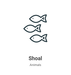 Shoal outline icon thin line black shoal icon vector