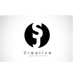 Sj letter logo design inside a black circle vector