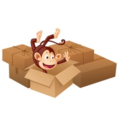 Smiling monkey with boxes vector image