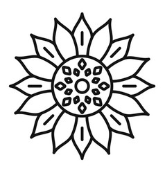 Spring sunflower icon outline style vector