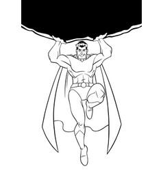 superhero holding boulder line art vector image