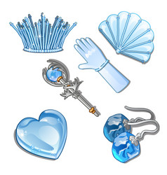the set of items and stylish decorations of ice vector image