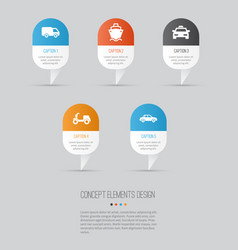 transportation icons set collection of cab vector image