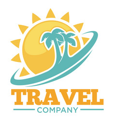 Travel company promotional logotype with palms and vector