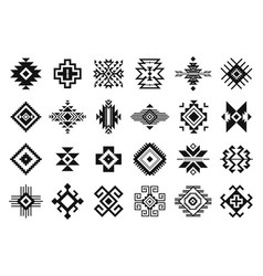 tribal elements monochrome geometric american vector image