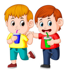 two boy drinking soda on paper cup vector image
