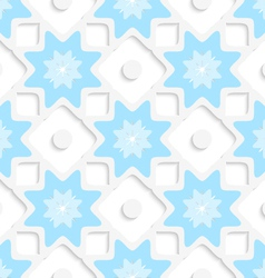 White snowflakes and dots with blue top seamless vector