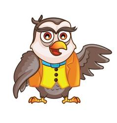 Wise owl cartoon vector