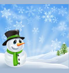 christmas snowman scene vector image