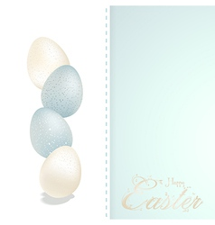 Easter blue and white speckled eggs and panel vector image vector image