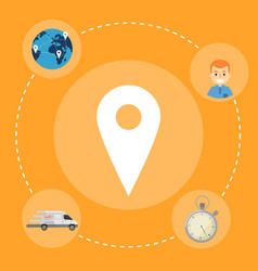 fast delivery banner map pointer icon vector image