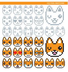 fox pixel emoticons vector image