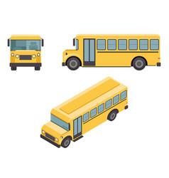 isometric 3d retro flat design school buss car vector image