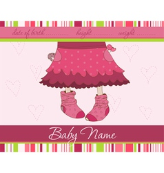 pink baby girl arrival announcement card with funn vector image