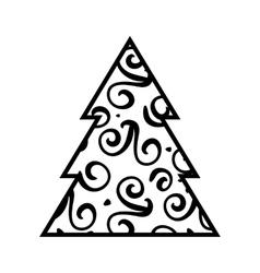 Simple black christmas tree icon vector
