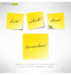 Yellow note sticker with message Paper reminder vector image